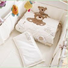 white 100 cotton embroidery bear baby bedding set quilt pillow per bed sheet crib bedding set bedding childrens kids bedspreads for girls from