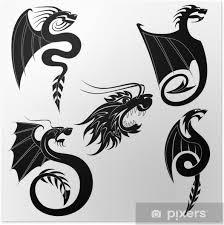 Plakát černý Drak Tetování Set