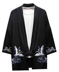 Black Crane Size Chart Kljr Men Cotton Linen Loose Fit Crane Printing Open Front