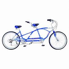 tandem bike with 26 inch steel frame and shimano 6 speed global