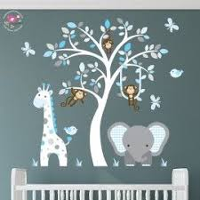 Enchanted Interiors Premium Self Adhesive Fabric Nursery Wall Art Stickers  Jungle Wall Decals featuring a Safari