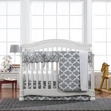 grey trellis 4 pc crib bedding set
