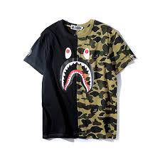 Big Mouth Shark Ape Bape Camo Casual T Shirt Tees ... - Amazon.com