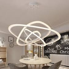 modern pendant lights for living room dining room 2 3 4 circle wave rings acrylic aluminum led pendant lamp fixtures contemporary chandeliers