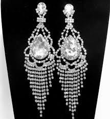 outdoor pretty long chandelier earrings 18 art deco rhinestone bridal free wedding prom silver diamond