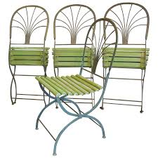 furniture art deco period folding garden chairs stylized palm trees set of intended for garden art outdoor