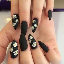 matte black daisy nail art manicure design idea