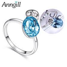 Женские <b>кольца</b> с синими кристаллами <b>Swarovski</b> и бабочками ...