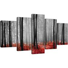extra large canvas pictures living room set of 5 5236 display gallery item 1  on large canvas wall art trees with extra large canvas prints of red forest woodland trees in black white