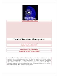 human resource management in  final report essay human resources management student number ls1401202 submitted by mr