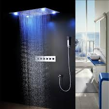 bathroom shower heads. Rainfall LED Rain Shower Head 24*30 Inch Ceiling Mounted Bathroom Stainless Steel Heads P
