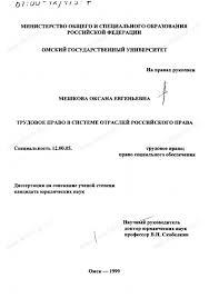 Диссертация на тему Трудовое право в системе отраслей российского  Диссертация и автореферат на тему Трудовое право в системе отраслей российского права dissercat