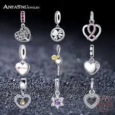 ANFASNI Fashion <b>Genuine 100</b>% <b>925 Sterling</b> Silver Charm ...