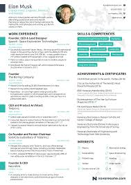 Elon Musk Resume The Résumé of Elon Musk By Novorésumé 2