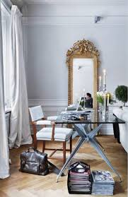 chic home office. A Chic White Home Office With Gold Mirror