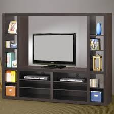 Small Picture Floating Brown Wooden Tv Stand With Six Wall Shelves On The White