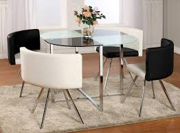 white rounded glass dining table design with contemporary black and white dining charis design for dining