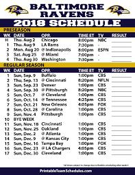 Printable Baltimore Ravens 2019 Schedule