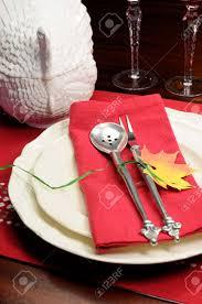 Rot Weiß Thema Fein Festlich Esstisch Einstellung Mit Herbst Blatt