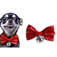 Generic 2 PCS Creative <b>Pet</b> Collar Hanging <b>Sequins Christmas Bow</b> ...