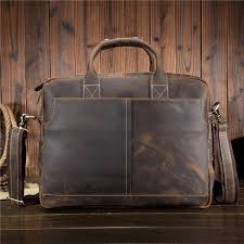 new men s leather computer bag fashion casual crazy horse leather men s shoulder messenger bag retro briefcase 1019 free