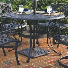 black round patio table inch round black metal outdoor patio dining table with umbrella hole black
