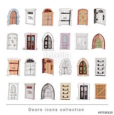 set of old door icon ilration vector