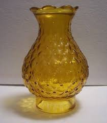 vintage amber glass quilted hurricane 7 lamp shade chimney