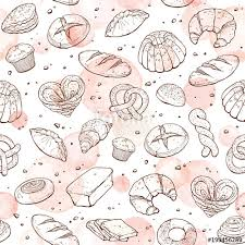Bakery Doodle Background Vector Seamless Pattern With Pastry