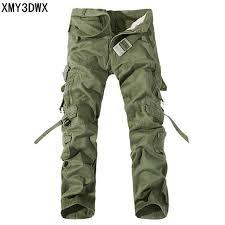 New 2017 Men Cargo Pants army green big pockets decoration ...