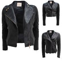 new las biker jacket crop pvc faux leather pu gold zip stud coat size 8 16