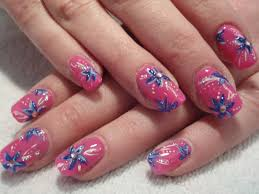 Blue Flower Nail Designs Pink Nail With Blue Flower Nail Designs Mag