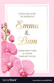 Wedding Invitation Template Wedding Invitation Template Pink Orchid Frame Gold