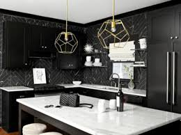 black kitchen cabinets with white marble countertops. Black Marble Countertops Kitchen Herringbone Backsplash Tiles Simple Cabinets With White S
