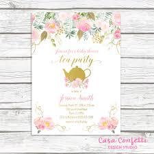 Tea Invitations Printable Tea Party Baby Shower Invitation Pink And Gold Princess Invitations