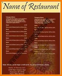 Word Restaurant Menu Templates Free Restaurant Menu Templates For Microsoft Word 28 Images Of Free