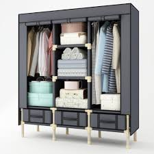 hhaini portable enlarged double wardrobe strong storage organizer with 3 drawers heavy duty closet for clothes portable wardrobe portable closet storage