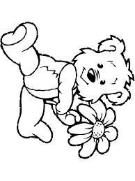 Small Picture Spring Coloring Page Teddy Bear With Flower PrimaryGames Play