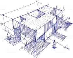modern architecture sketch. Architectural Sketch Of A Modern Building Royalty-free Stock Architecture