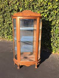 Curio cabinets for china, collectibles & antiques. Vintage Curved Glass Mirrored Curio Cabinet Antique Victorian Reproduction Curio Tiger Oak Curio Vintage Bow Front Mirror Display Cabinet
