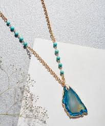 all gone turquoise goldtone geode slice pendant necklace