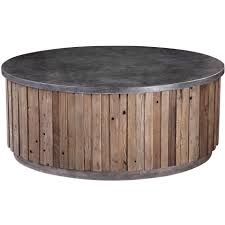 Stone Top Wood Plank Coffee Table