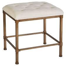 brown metal rectangular bathroom vanity stool with tufted seat charming vanity chair