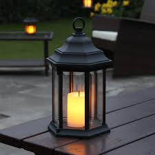 outdoor candles lanterns and lighting. Outdoor Aluminium Lantern - Flickering Amber Candle LED Timer 27.8cm Battery Operated By Festive Lights: Amazon.co.uk: Garden \u0026 Outdoors Candles Lanterns And Lighting