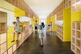 Walls With Integrated Furniture And Yellow Nooks Encourage Play In Mesmerizing Furniture Design Schools