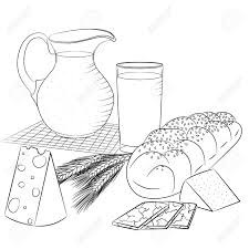 still life with dairy s and bread ilration for menu cookbook or coloring book sketch isolated on white background
