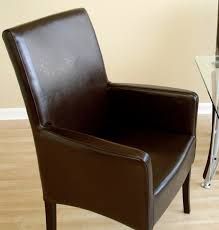 bicast full dark brown leather dining arm chair
