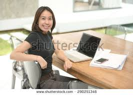 working for home office. woman architect working in home office for