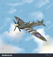 spitfire drawing. detailed vector drawing of a supermarine spitfire ww2 fighter plane/spitfire/ easy to edit