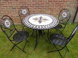 5 piece metal mosaic garden dining set for 4 patio 90cm table 4 folding chairs